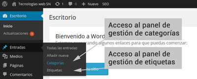 wordpress categorias administracion